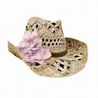 China Women's Hat, Measures 57cm, Various Colors are Available, Made of 100% Straw on sale