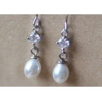 Best Zinc Alloy Teardrop Fake Pearl And Diamond Earrings For Wedding Vintage White Color wholesale