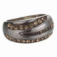 Jewelry Ring, Made of Tungsten/Rhinestones, Available in Various Colors and Sizes, Eco-friendly