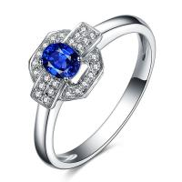 Cheap Fashion Blue Gemstone Rings ,  Oval Sapphire And Diamond Engagement Rings for sale