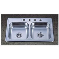 Best 33x22 inch Double Bowl Stainless Steel Topmounted Kitchen Sink with 4 Four holes wholesale