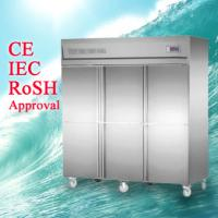 China Commercial Stainless Steel Upright Freezers 6 Doors with universal wheel For Restaurant on sale