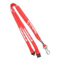 China Silk Screen Printed Tubular Lanyards Red For Business Conference on sale