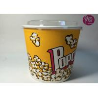 Buy cheap 85oz Double PE Coated Neutral Design Popcorn Paper Bucket With Plastic Lid product