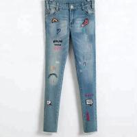 Best Stretch Girls Denim Clothes Jean Trousers With Custom Color Printed Embroidered Patch wholesale
