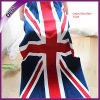 Best high quality promotional reactive printed flag cotton beach towel wholesale
