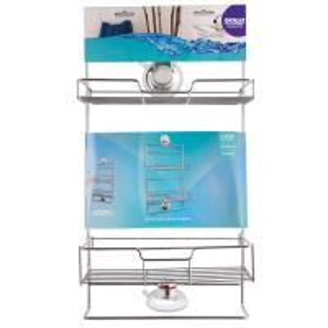 Best SUS304 CHROME Suction Adjustable 2 Tier Bathroom storage wholesale