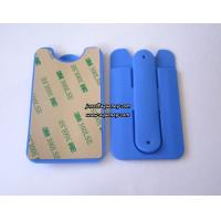 China Wholesale Blue color silicone smart phone pouch with phone stand on sale