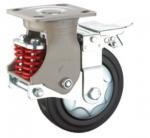 Best shock absorbing black elastic rubber wheel with plane bearing wholesale