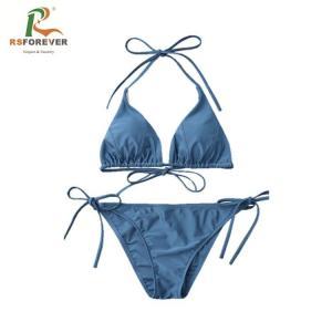 Best Blue Beach Wear For Women / Quick Dry Polyester Fabric Swimwear Sexy Bikini wholesale