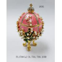 Cheap Easter egg Russian faberge egg jewelry trinket ring box decor metal crafts Christmas gift for sale
