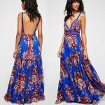 2018 Summer Women Sexy Maxi Dress Backless Fashion Casual Beautiful Kaftan Dress