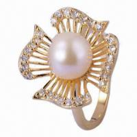 China Pearl Jewelry/Ring with Pearl, Flower Ring, Gold Plating Pearl Ring, 925 Silver Ring/Pearls Jewelry on sale