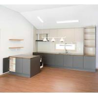 Best Modern Kitchen Cabinet Customized High Cabinet Kitchen Island Cabinet with Gray MFC Door Plate Quartz Stone Counter wholesale