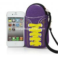 Best Soft Purple Neoprene Phone Case With Wrist Strap , Special Shoes Design wholesale