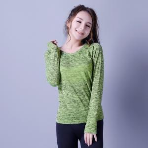 Best Casual sportswear,   seamless sports shirt,  green & black,  knitwear,  Long sleeve,    XLLS009,  woman T-shirts, wholesale