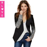 Best 2015 spring black and silver sequined suit gradient PU leather stitching Slim female coat wholesale