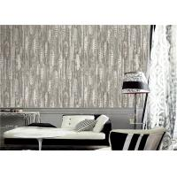 China PVC Modern Style Grey And White Wallpaper Feather Design For Sitting Room on sale