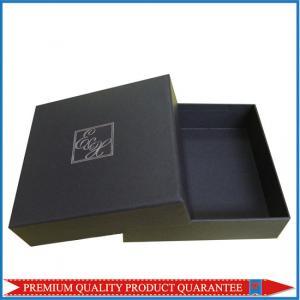 Silver Hot Stamp Logo Print Matte Black Paper Gift Packaging Box Lid & Base