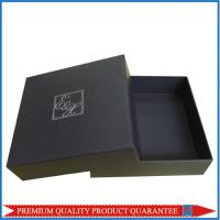 Cheap Silver Hot Stamp Logo Print Matte Black Paper Gift Packaging Box Lid & Base for sale