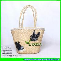 China LUDA fashion straw lady handbags natural wheat straw customized beach bags on sale