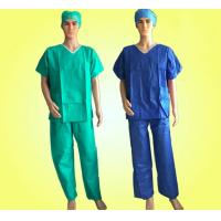 Cheap SMS Patient Disposable Scrub Suits With Short Cuff Minimizing Cross - Infection for sale