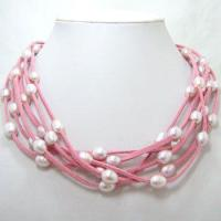Best 8-9mm Fresh Water Pearls On 6 Strands Pink Leather Necklace wholesale