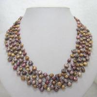 China 5 Strands Irregular Multicolour Fresh Water Pearl Necklace on sale