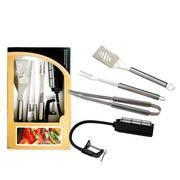 China BBQ Tools Set Product name:4pcs stainless steel tube handleBBQ tools set with color box on sale