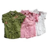 China =Girl's GT-010GIRL'S 7-16 POPLIN CRINKLED SHIRT WITH EMB/RIGHNSTONE DETAILS on sale