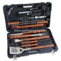 China 12pcs mimic rosewood handle BBQ tools set with plastic case on sale