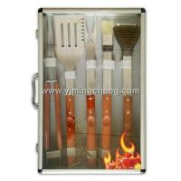 Best 6pcs mimic rosewood handle BBQ tools set with transparent aluminum case wholesale
