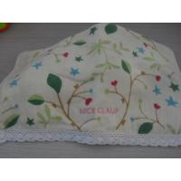 China 100% cotton velour reactive printed face towel with lace & embroidery on sale
