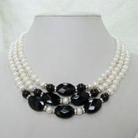 China Faced Oval Black Agate & Round Fresh Water Pearl Triple Strand Necklace on sale