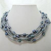 China 8-9mm Blue Fresh Water Pearls On 6 Strands Blue Leather Necklace on sale