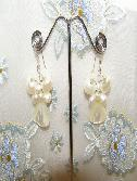 Best Splendid White Fresh Water Pearl Butterfly Earrings wholesale