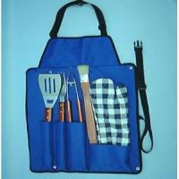 China I5-PC WOODEN BBQ TOOL SET IN A CANVAS APRON on sale