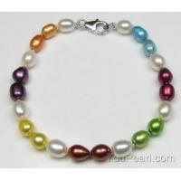 China Colorful rice fresh water pearl bracelet factory direct sale on sale