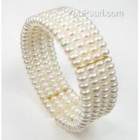 China Gorgeous 4 rows fresh water pearl bracelet whole sale online, gold link on sale