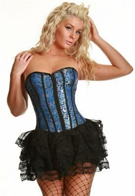 Cheap Metal Boning Corset with Ruffled Mini Skirt for sale