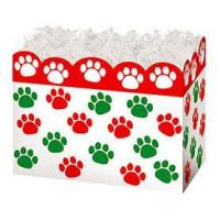 China Holiday Paw Prints Large Basket BoxCase Pack - 6 on sale