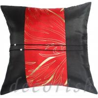 China BLACK Silk Throw Pillow Cover with Red Golden Bamboo Middle Stripe on sale