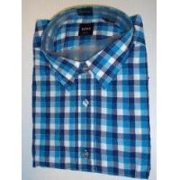 China Hugo Boss Mens Ronny Ls Dress Shirt Large Slim Fit Woven Blue Checked from Hugo Boss on sale