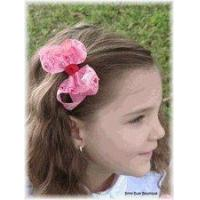 China Pink Heart Paisley Little Girl Hair Bow on sale
