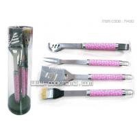 Best 4pcs local S/S printing handle bbq tools set with PVC carry box wholesale