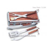 Best 5pcs Deluxe real rosewood handle bbq set with aluminum carry case wholesale