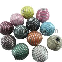 Best 100pcs Mixed Color Handmade Wax Cord Woven Beads, Silver Lined,Oval,20*22mm wholesale
