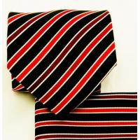 China Red and Black Striped Necktie and Pocket Square Set (Q575-I) on sale