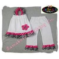 China Outfit Baby Toddler Little Girl Zebra Pink Pant Set on sale