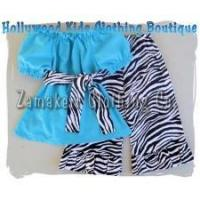 Best Newborn Baby Girls Boutique Aqua and Zebra Outfit Set wholesale